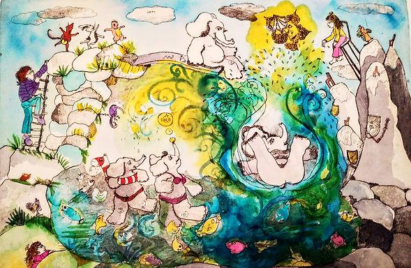 Elephants hand colored etching SZ..jpg