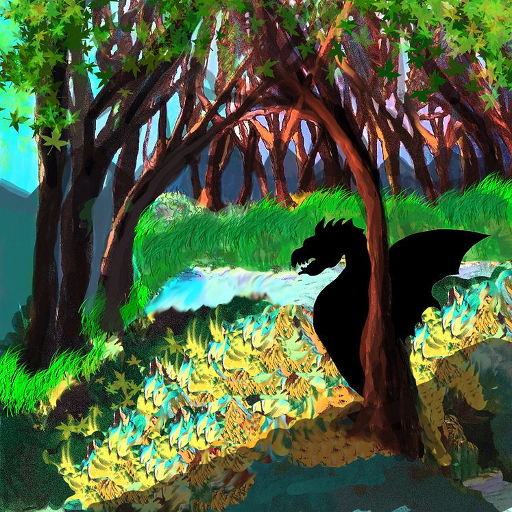 Dragon in the forest with mountains.jpg