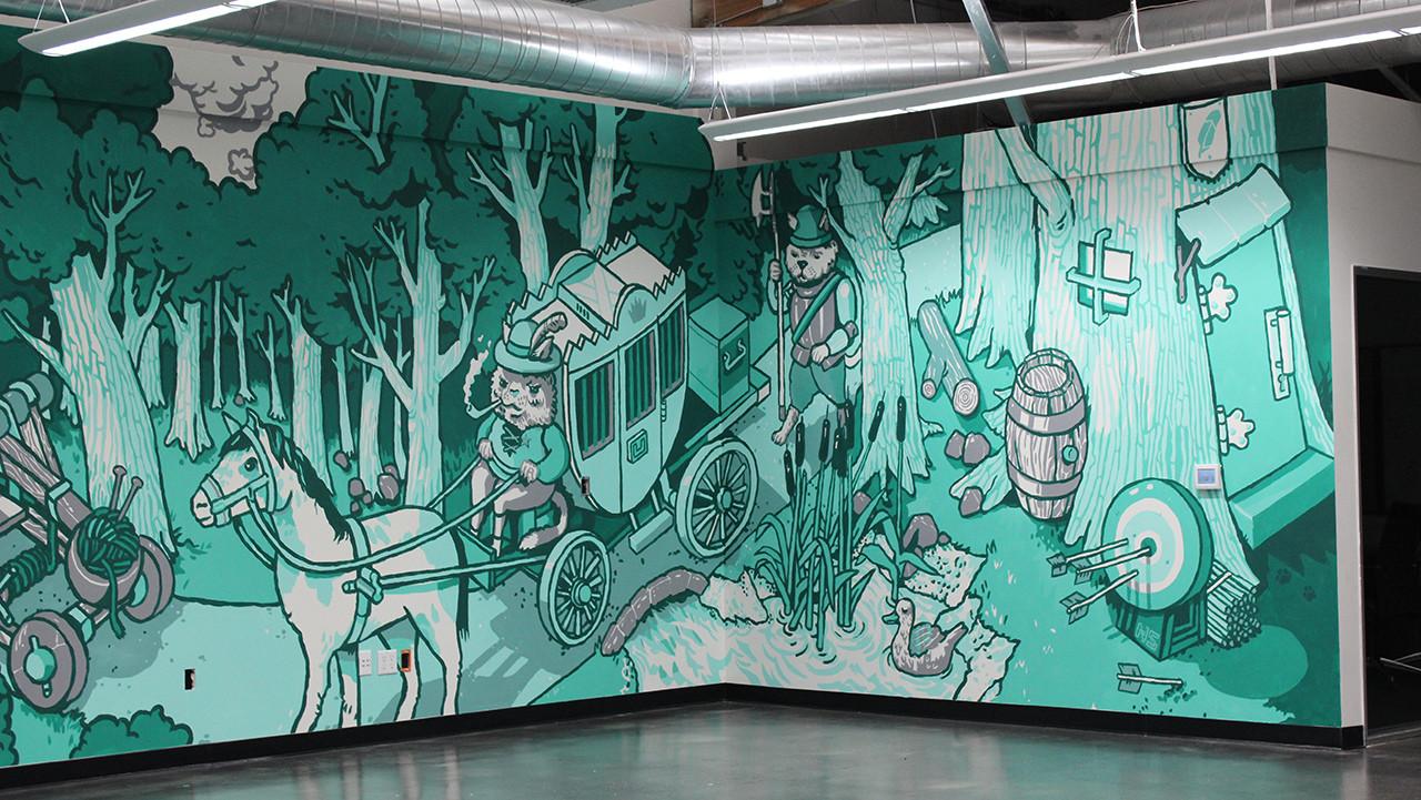 Nigel Sussman Illustration Robinhood Cats Palo Alto Murals