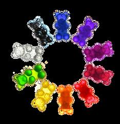 Farbpalette für Dehnungsspangen in Gummibärchenform