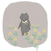 菜の花とツキノワグマ