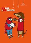 赤い鳥と赤いセータを着た犬