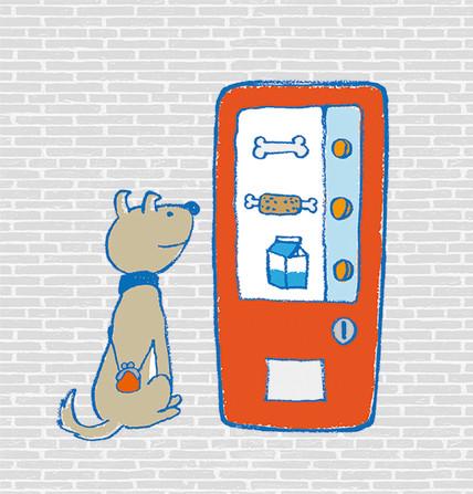 自販機で買い物をする犬
