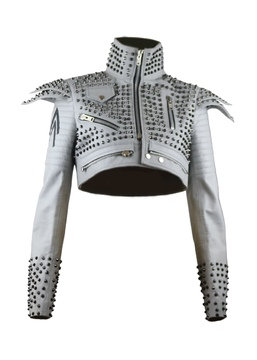 FIFI- Grey Quilted Dual Shoulder Pad Studded Leather Bolero Jacket
