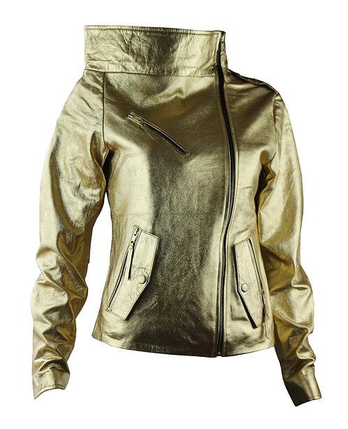 ORO- Metallic Gold High Right Collar Moto Leather Jacket