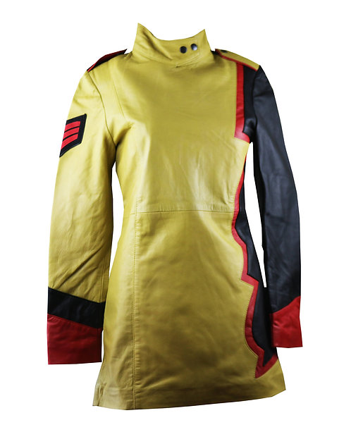CASSIDY- Yellow Black and Red Leather Dress