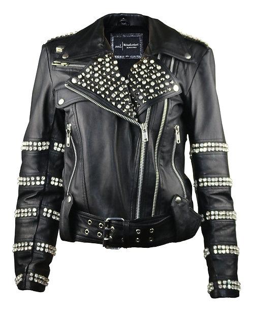 AMORE- Black Diamond And Studded Amore Leather Moto Jacket