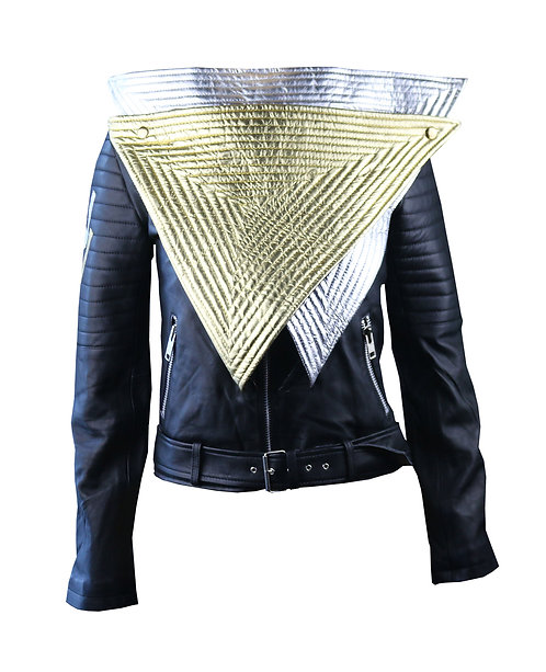 FUTURE- Metallic Silver, Gold and Black Quilted Moto Leather Jacket