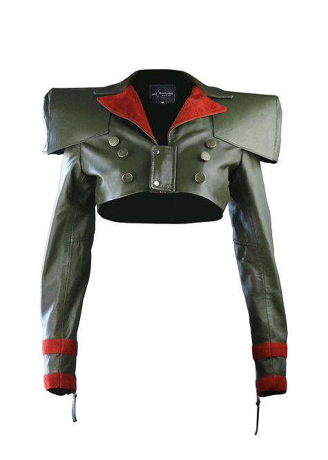 SPARTAN- Olive Green Wide Shoulder Sheepskin Leather Bolero
