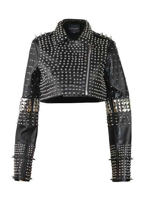 IRONGIRL- Black Studded Sheepskin Bolero Leather Jacket