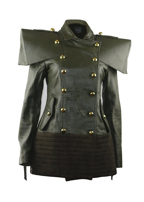 MAXIMILLION- Army Green Double Breasted Wide Shoulder Leather and Suede Jacket