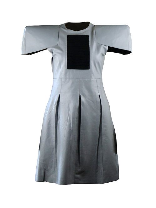 NUX- Gray Sheepkin Wide Shoulder Leather Dress
