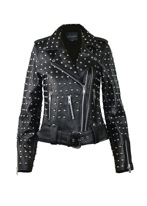 LENA FUCK YOU- Black Studded Screen Printed Leather Moto Jacket