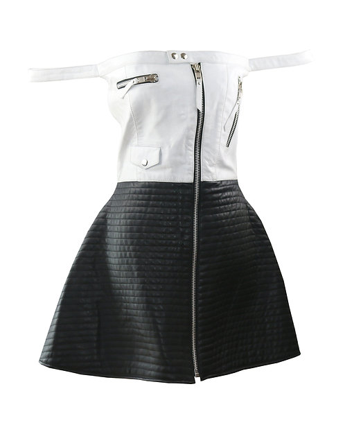 ARIANA- Black and White Quilted Aline Moto Leather Dress
