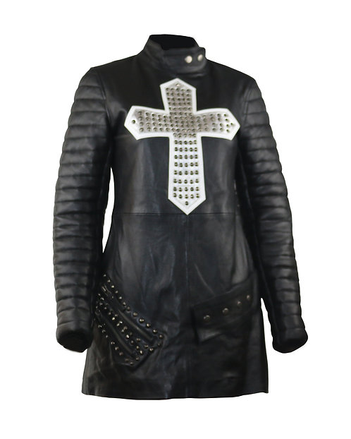 ARTEMIS - Black Quilted Long Sleeve Leather Dress With Studded Cross