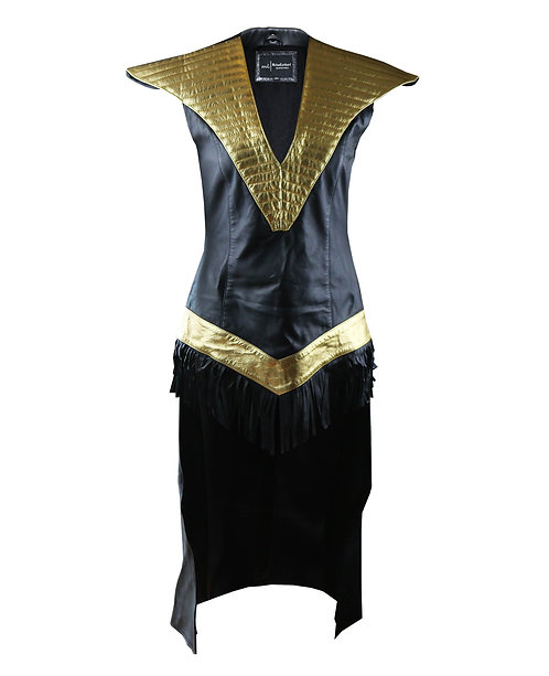 CLEO- Black and Gold Quilted fringed Sheepskin Leather Dress