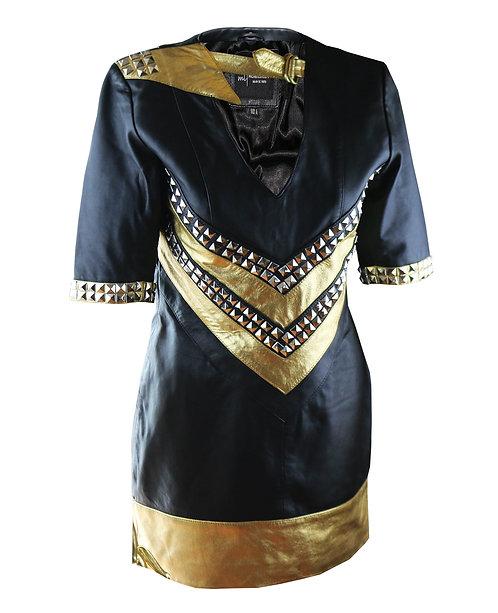 MARVEL- Black and Metallic Gold Studded Sheepskin Leather Dress