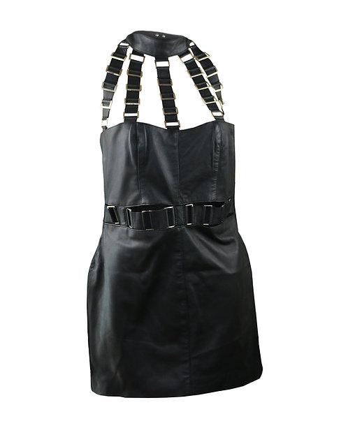 DASH- Black Neck Strap Halter Leather Dress
