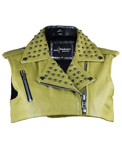BORK- Yellow Studded Leather Moto Bolero Vest
