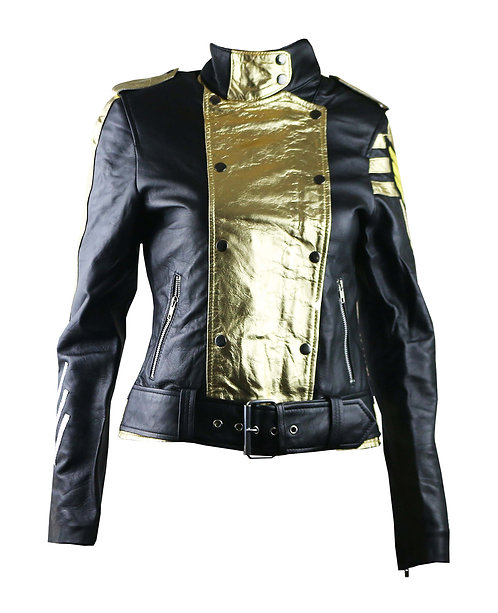 GEN- Black and Gold Military Leather Moto Jacket