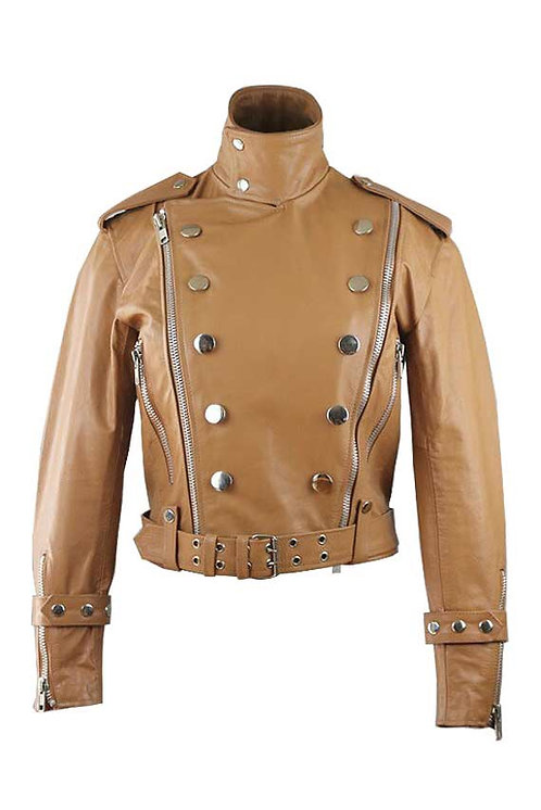RYDER- Caramel Moto Double Breasted Calfskin Leather Jacket