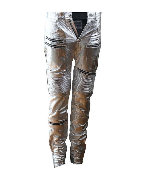 APOLLO- Metallic Silver Quilted  Sheepskin Leather Moto Pants