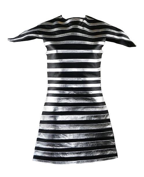 VICTORIA- Metallic Silver and Black Striped Leather Dress
