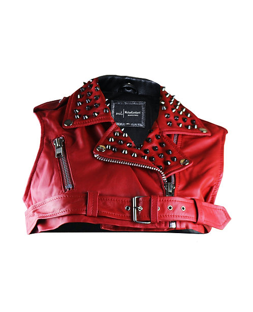 BJORK- Red Studded Leather Moto Bolero Vest