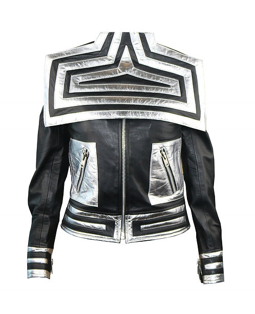 MOON- Metallic Silver and Black Quilted Moto Leather Jacket