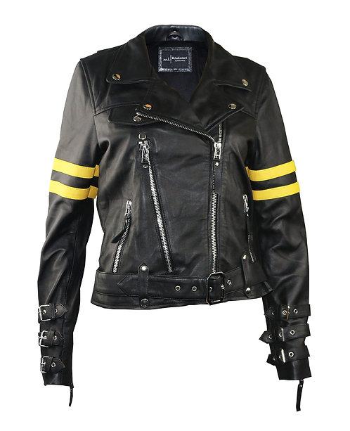 DAYTONA- Black With Yellow Stripe Sheepskin Leather Moto Jacket
