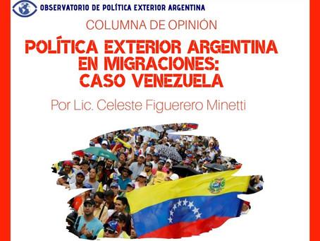 Política exterior argentina en migraciones: caso Venezuela
