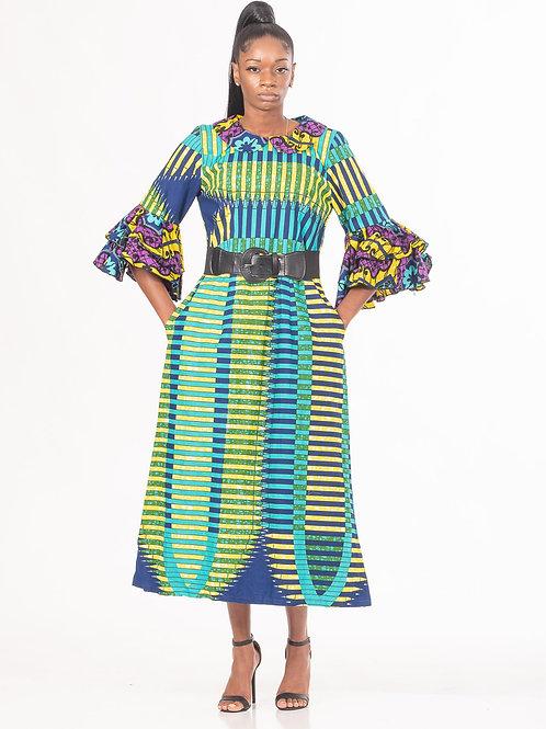Flounce Sleeve Midi Dress with Pockets