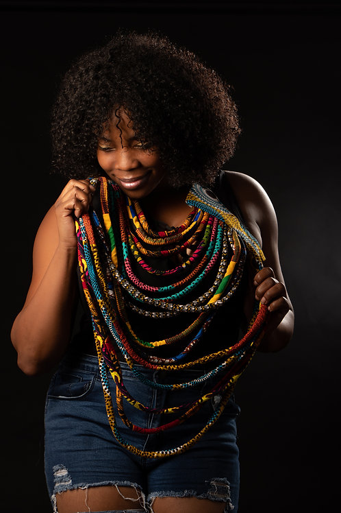 Thick Layered Ankara Necklace