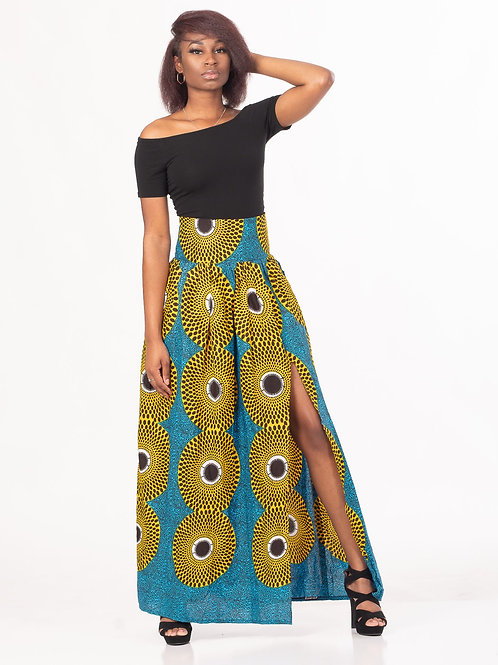 Banded Maxi Skirt With High Slit