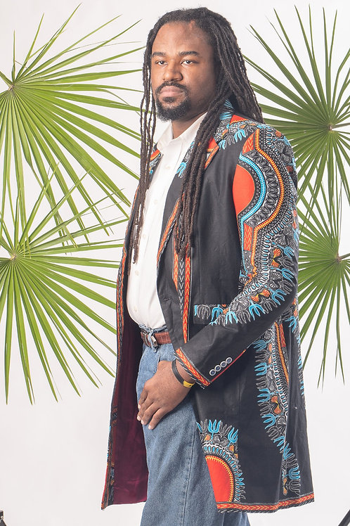 Men's Mid Length Dashiki Blazer