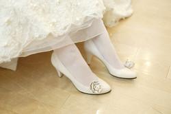 wearing rose pumps for wedding