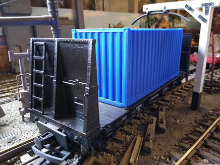 G scale 20' Shipping Container on Flatbed Truck Fitted With Bulkheads