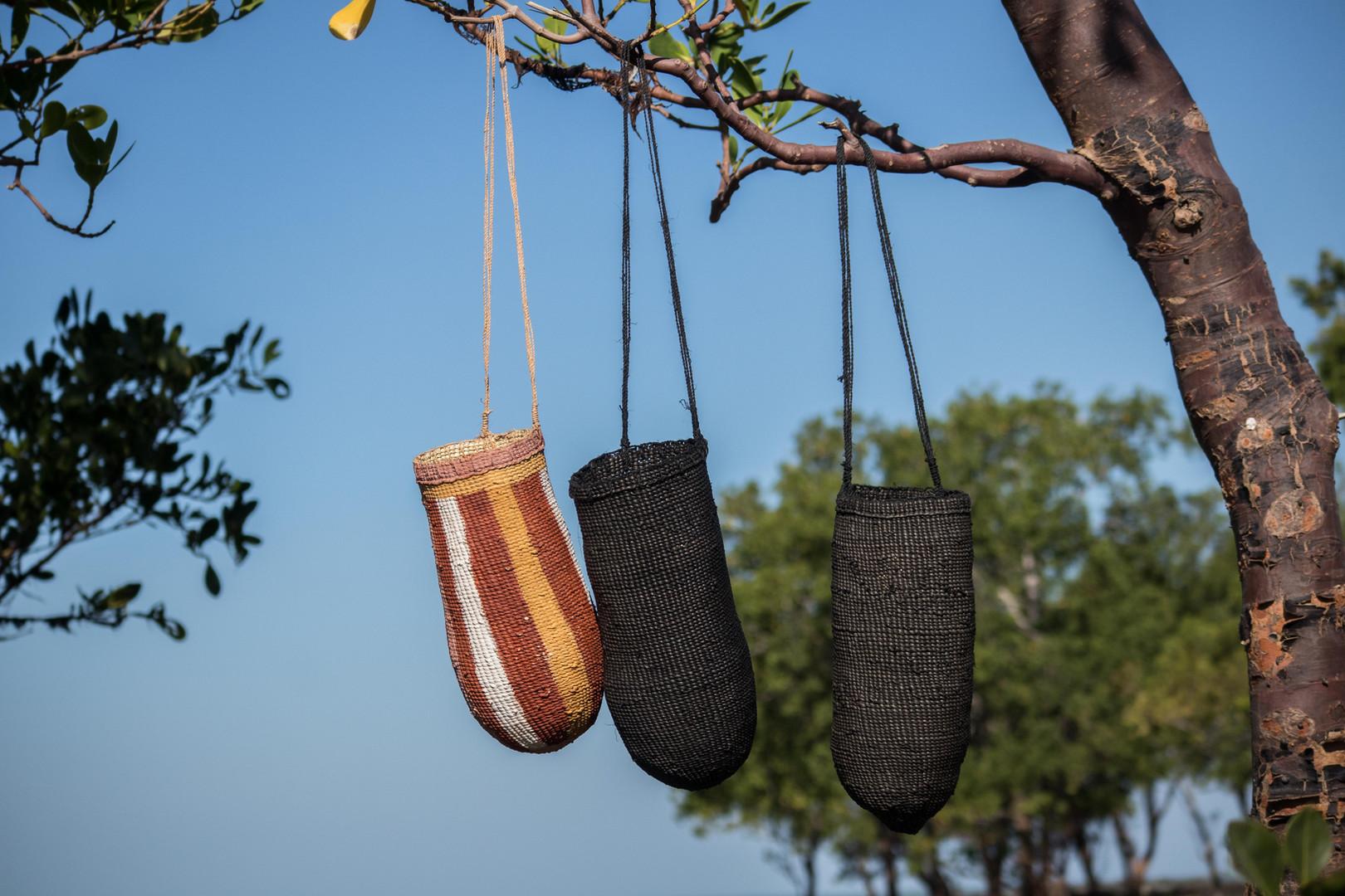 Ḻurrkun mindirr (three conical baskets) | Helen Ganalmirriwuy