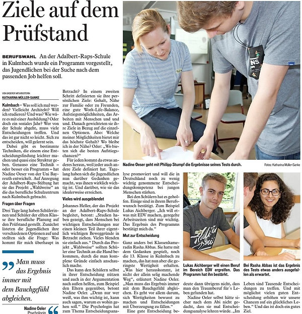 Artikel über Entscheidungsworkshop an der Adalbert-Raps-Schule in Kulmbach, Bayerische Rundschau