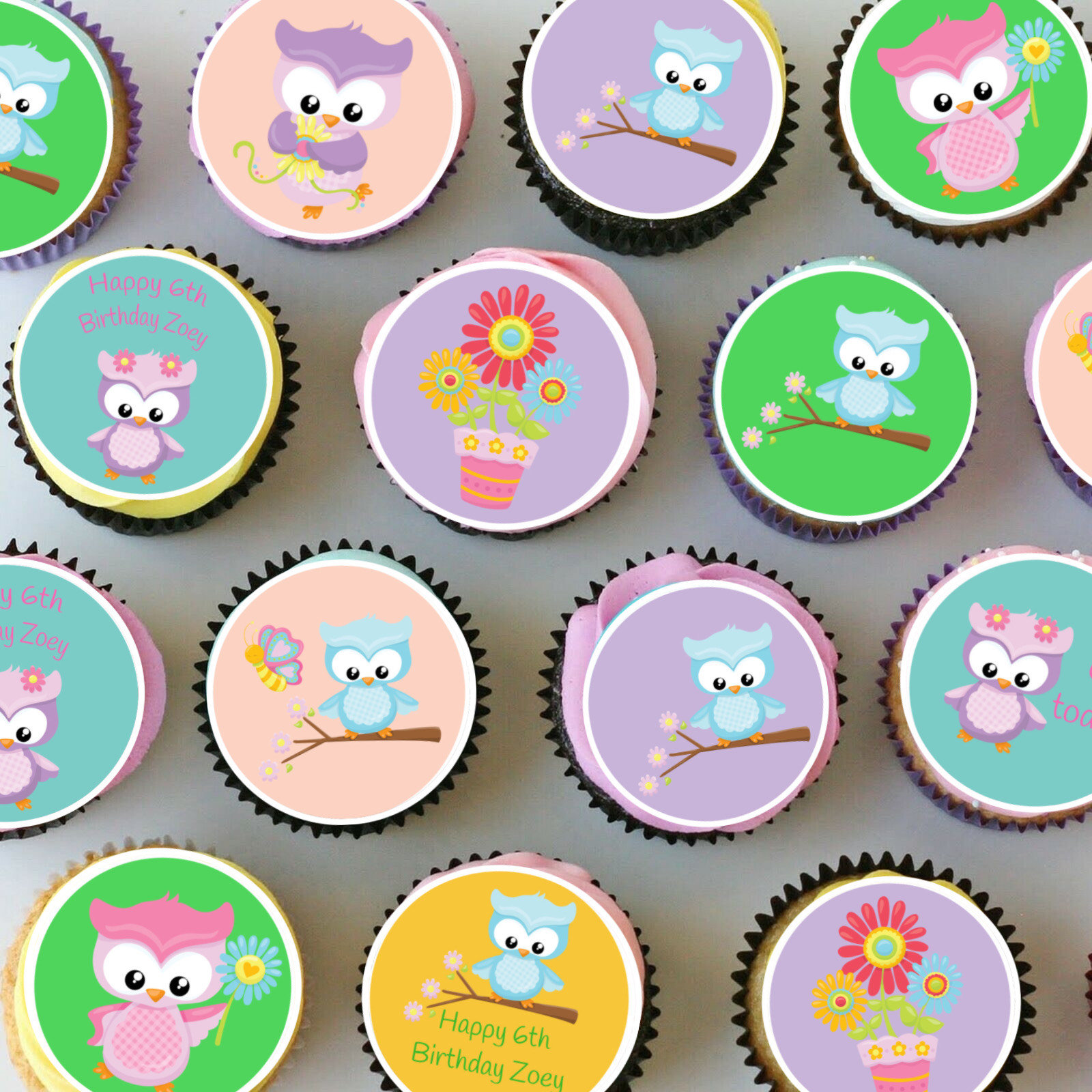 Tremendous Owl Birthday Cupcake Toppers Sweet Spot Creations Personalised Birthday Cards Sponlily Jamesorg