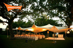 Freeform stretch rental tent
