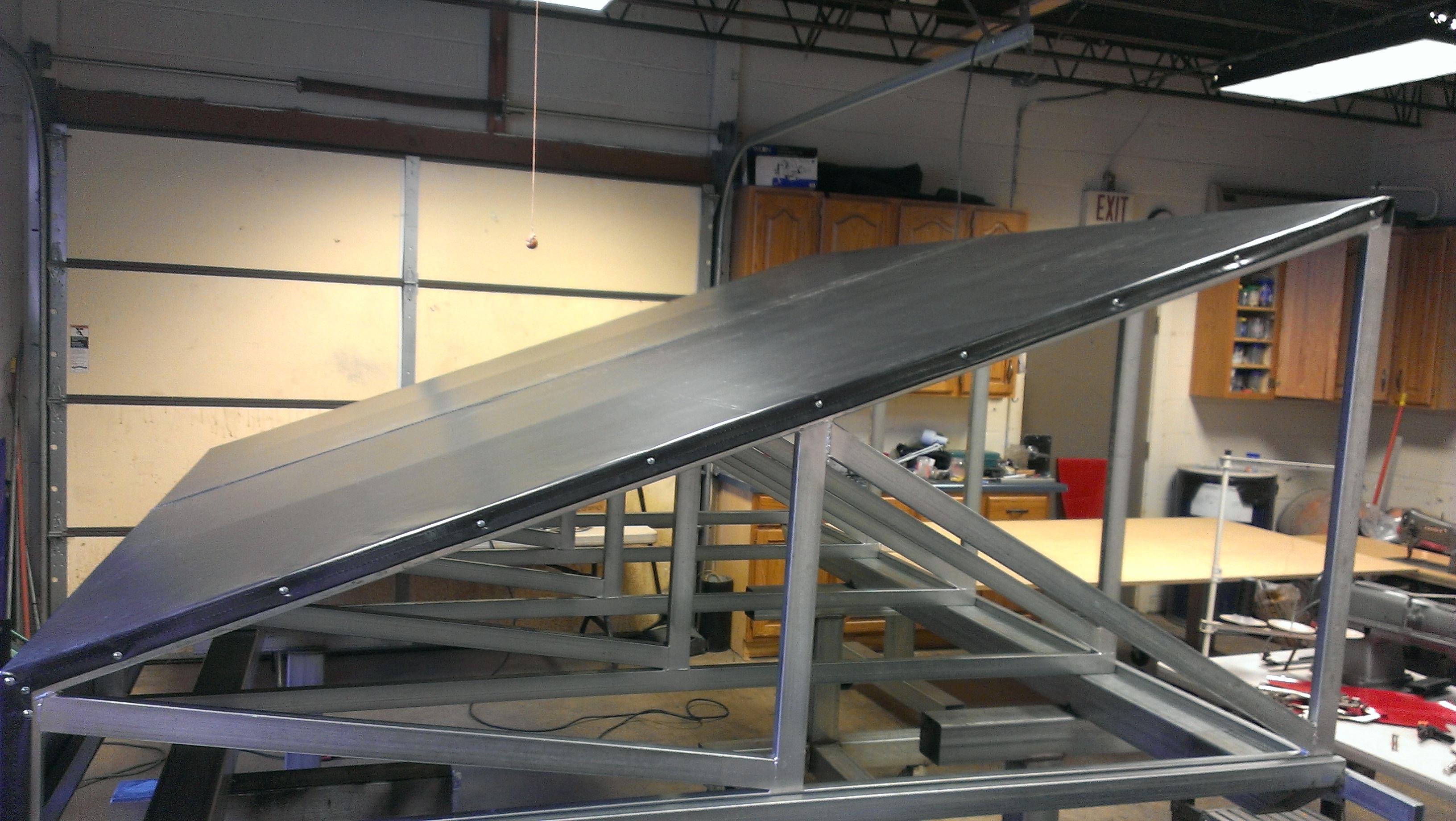 Assembling Trader Joe's awning