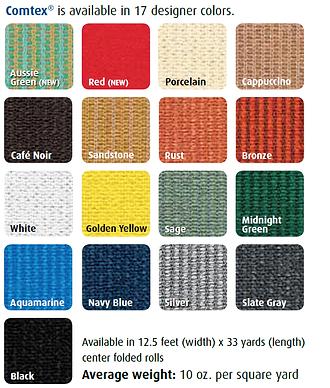 Comtex shade cloth color chart