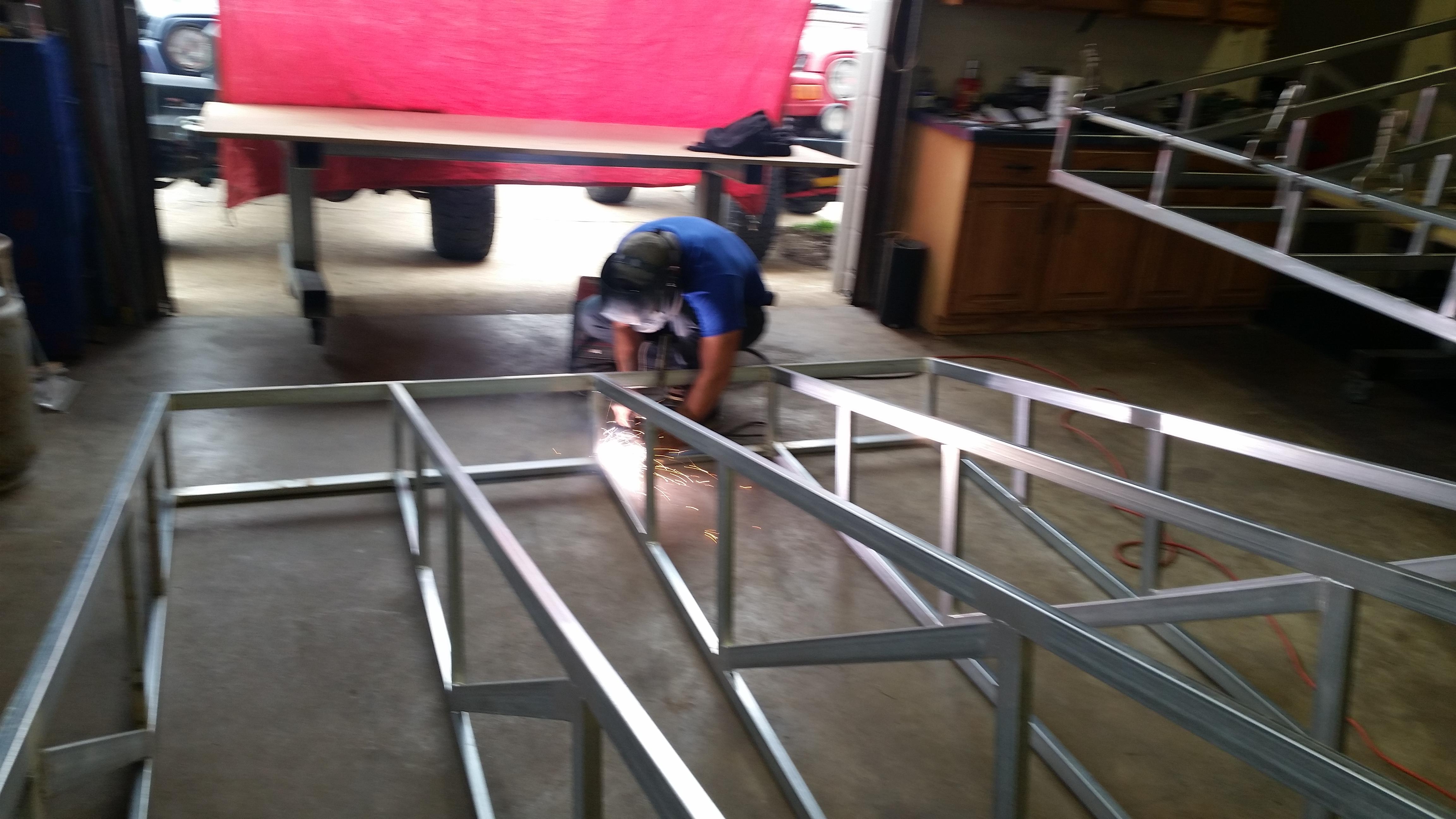 Welding steel awning frame