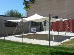 Preparing a tent for rental