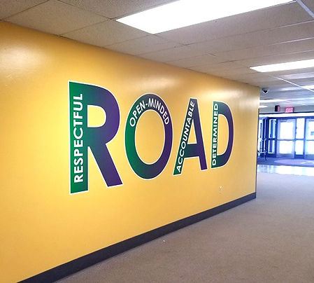 Hallway vinyl wall decal made by TNT SIGNS!