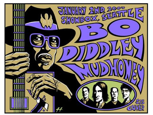 Bo Diddly and MudHoney S/N Concert Poster
