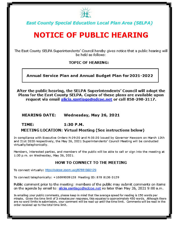 Public Hearing Notice Bdgt Svc Plans May