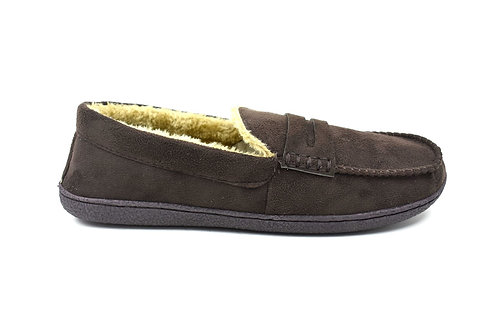 Men's Indoor Moccasin Slippers Dk.Brown