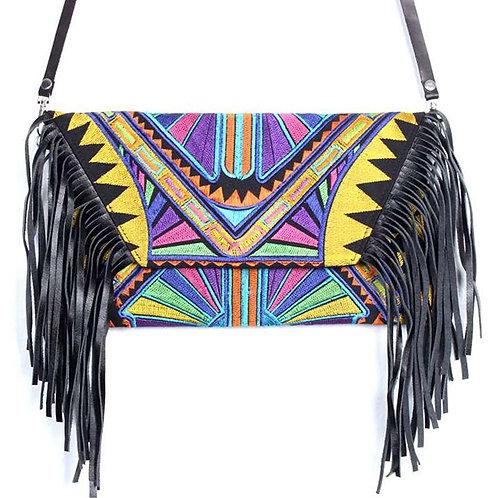 Tribe Leather Fringe Bag - Yellow Aztec Print